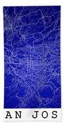 San Jose Street Map - San Jose Costa Rica Road Map Art On Colore Bath Towel