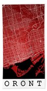 Toronto Street Map - Toronto Canada Road Map Art On Colored Back Bath Towel