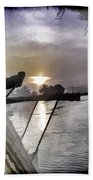 View Of Sunrise From Boat Bath Towel