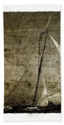 40 Sailboat - With Open Wings In A Grunge Background  Bath Towel