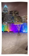 Charlotte Queen City Skyline Near Romare Bearden Park In Winter Snow Bath Towel