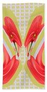 Dancing Tulip Red Exotic Flower Petal Based Wave Pattern  Created By Navinjoshi Reiki Healing Master Bath Towel