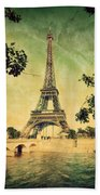 Eiffel Tower And Bridge On Seine River In Paris Bath Towel