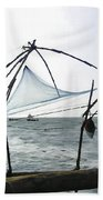 Fishing Nets On The Sea Coast In Alleppey Bath Towel