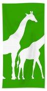 Giraffe In Green And White Bath Towel