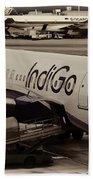 Indigo Aircraft Getting Ready In Changi Airport Bath Towel
