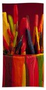 Multi Colored Paint Brushes Bath Towel