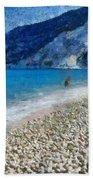 Myrtos Beach In Kefallonia Island Bath Towel