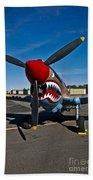Nose Art On A Curtiss P-40e Warhawk Bath Towel