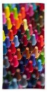 Rows Of Multicolored Crayons  Bath Towel