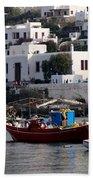 A Boat In The Harbor Of Mykonos Greece Bath Towel