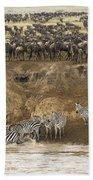 Wildebeests Crossing Mara River, Kenya Bath Towel
