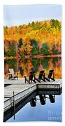 Wooden Dock On Autumn Lake Bath Towel