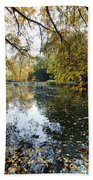 Alley With Falling Leaves In Fall Park Bath Towel