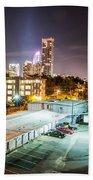 Charlotte City Skyline Night Scene Bath Towel