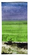 Green Fields With Birds Bath Towel
