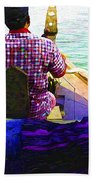 Lady Sleeping While Boatman Steers Bath Towel