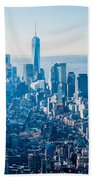 New York City Manhattan Midtown Aerial Panorama View With Skyscr Bath Towel
