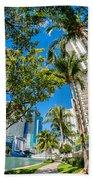 Downtown Miami Brickell Fisheye Bath Towel