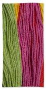 Multicolored Embroidery Thread In Rows Bath Towel