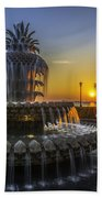 Pineapple Fountain At Sunrise Bath Towel