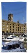 St Katherines Dock London Bath Towel
