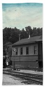 760 Train Engine Passing The Station Sc Textured Bath Towel