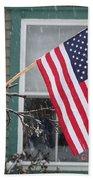 #762 D68 American Flag Winter Bath Towel