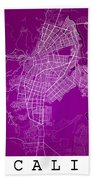 Cali Street Map - Cali Colombia Road Map Art On Colored Back Bath Towel