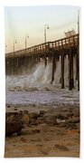 Ocean Wave Storm Pier Bath Towel