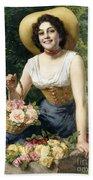 A Beauty Holding A Basket Of Roses Bath Towel