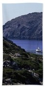 A Boat Sailing In The Valley Bath Towel