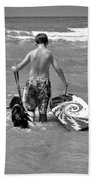 A Boy And His Dog Go Surfing Hand Towel