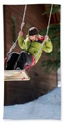 A Boy Plays Outside In Lake Tahoe Hand Towel