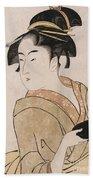 A Bust Portrait Of The Waitress Okita Of The Naniwaya Teahouse Bath Towel