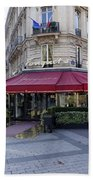 A Cafe On The Champs Elysees In Paris France Bath Towel