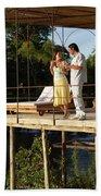 A Couple Having Drinks On A Deck Bath Towel