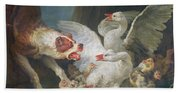 A Dog Attacking Geese, 1769 Oil On Canvas Hand Towel