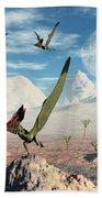 A Flock Of Thalassodromeus Pterosaurs Bath Towel
