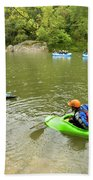 A Group Of Kayakers, Rafters Bath Towel