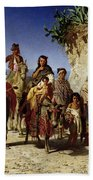 A Gypsy Family On The Road, C.1861 Oil On Canvas Bath Towel