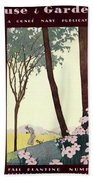 A House And Garden Cover Of A Rural Scene Bath Towel