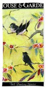 A House And Garden Cover Of Chickadees Hand Towel