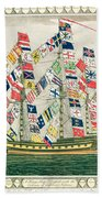 A King S Ship Dressed With The Colours Of Different Nations 6th October 1794 Bath Towel