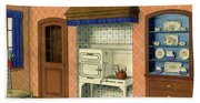 A Kitchen With An Old Fashioned Oven And Stovetop Bath Towel