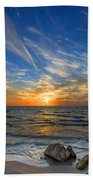 A Majestic Sunset At The Port Bath Towel