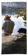 A Man And His Dog Bath Towel