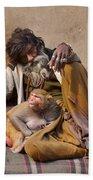 A Man And His Monkey - Varanasi India Bath Towel