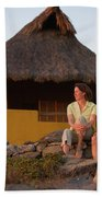 A Man And Woman Enjoy Sunset Bath Towel