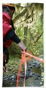 A Man Lowers A Rope For Canyoning Bath Towel